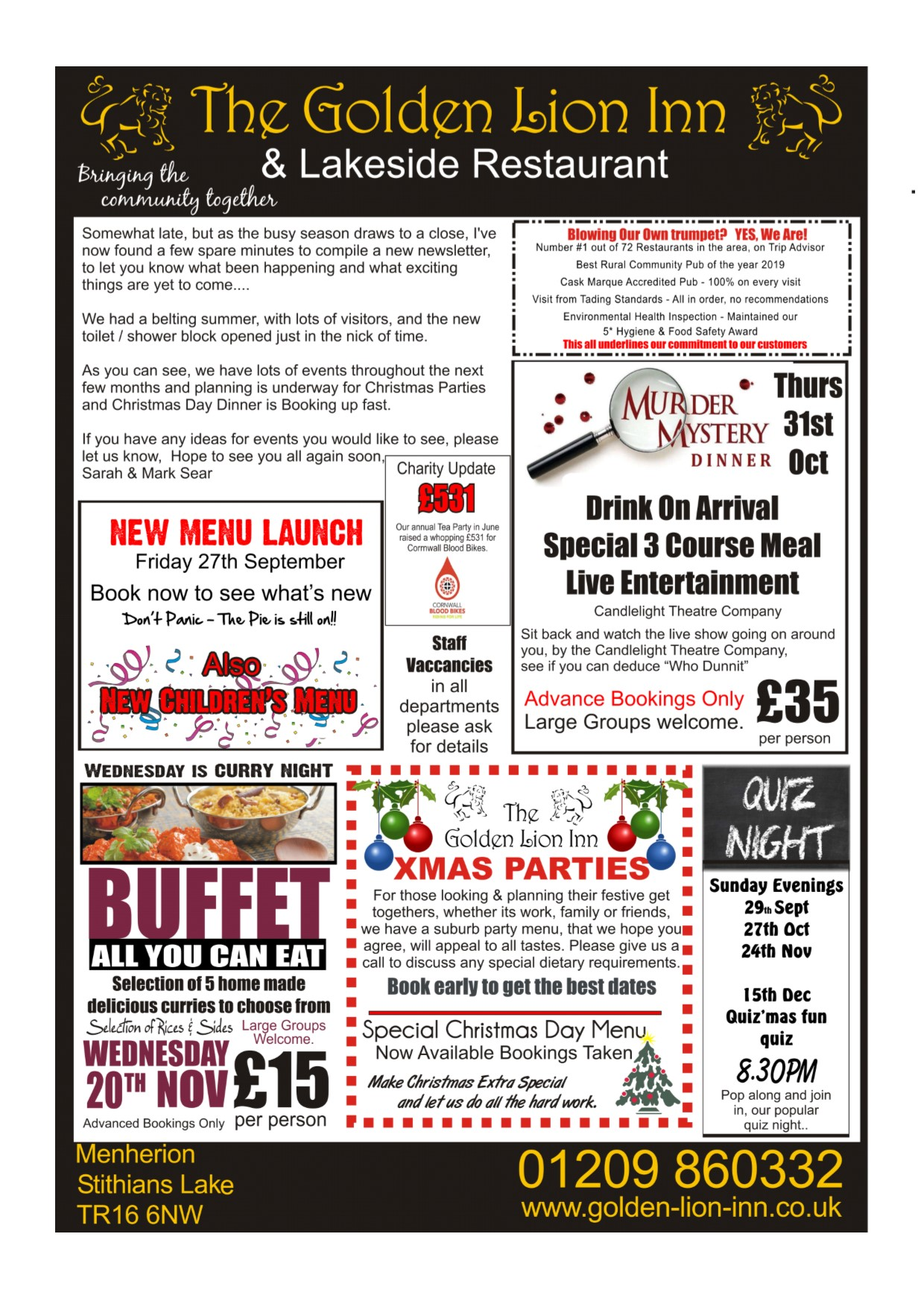 Events The Golden Lion Lakeside Redruth