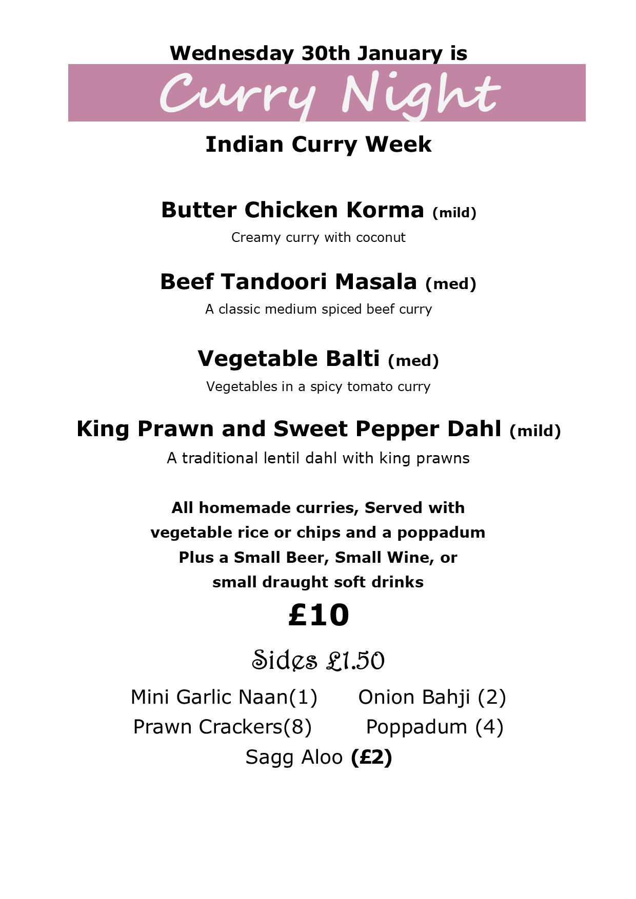 Wednesday Is Curry Night Menu The Golden Lion Lakeside